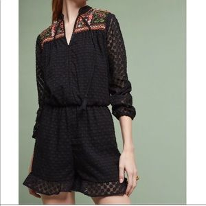 NWOT Anthropologie Embroidered Romper Sz LP